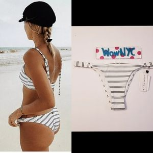 NWT VITAMIN A Tulum Striped Hipster Bikini Bottom